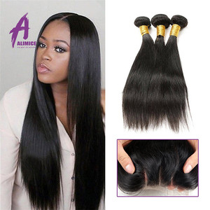 Brazilian virgin hair bundles with lace closure bleached knots with baby hair top closureBrazilian hair online sale