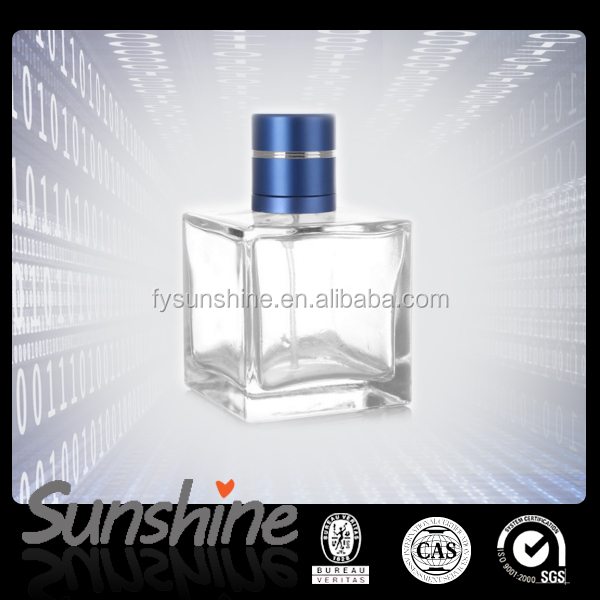 Manufacturer 100ml Square empty glass perfume bottle with aluminum cap for free samples