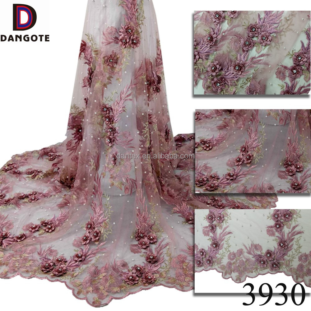 Latest 3D flower lace embroidered beads tulle lace for dress embellished lace fabric in purple 3930