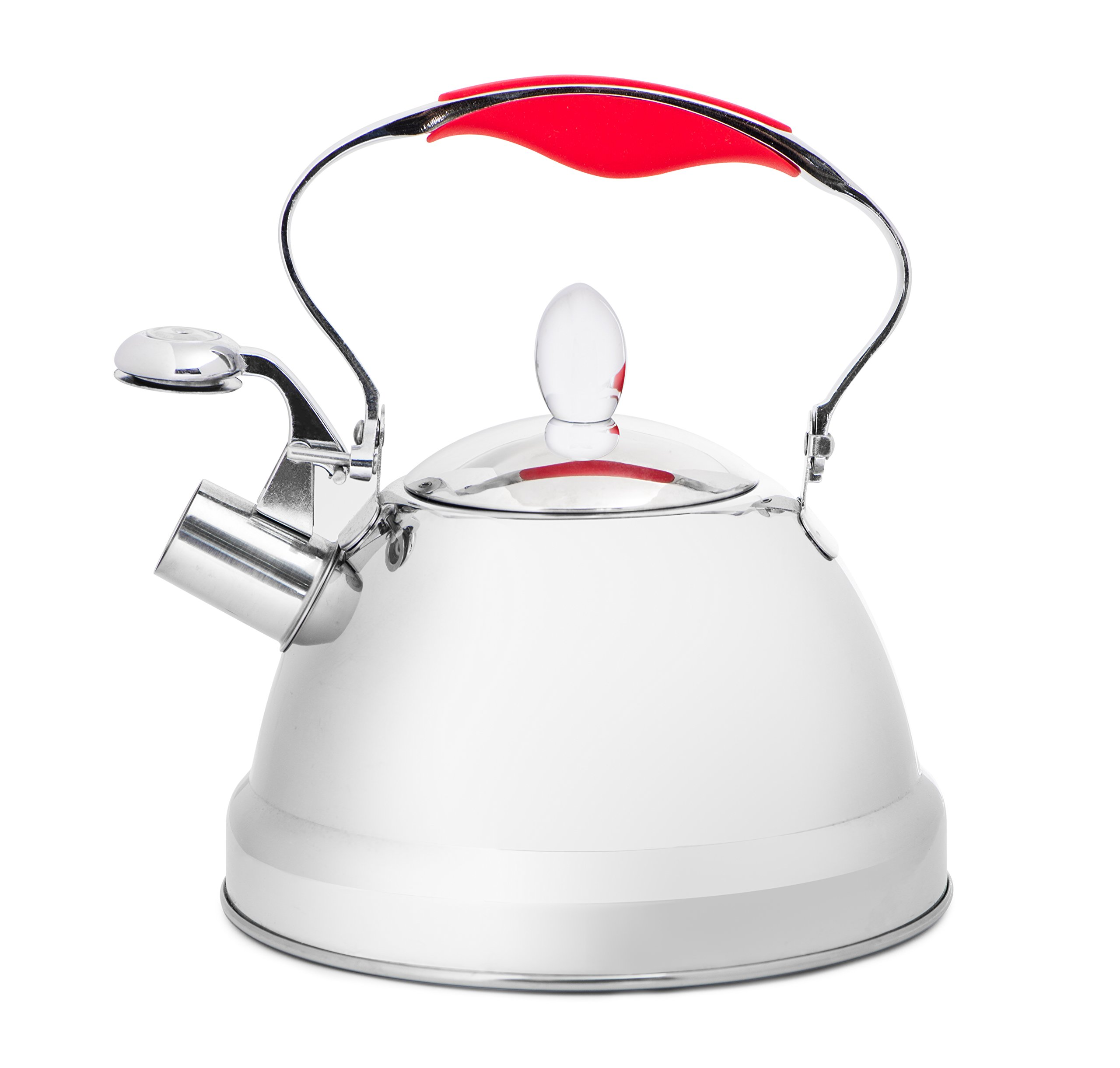 +Steel Stainless Steel Whistling Tea Kettle 2.5Qt, Stove Top Kettle Teapot with 5-ply Capsule Bottom