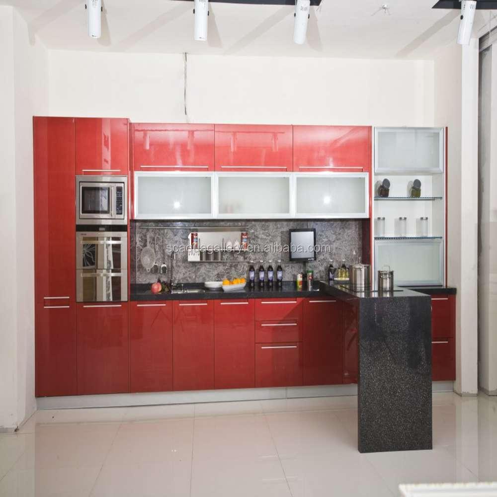 Rode lak hoogglans modulaire keuken met opknoping kasten keuken kasten product id 60578846794 - Keuken met teller ...