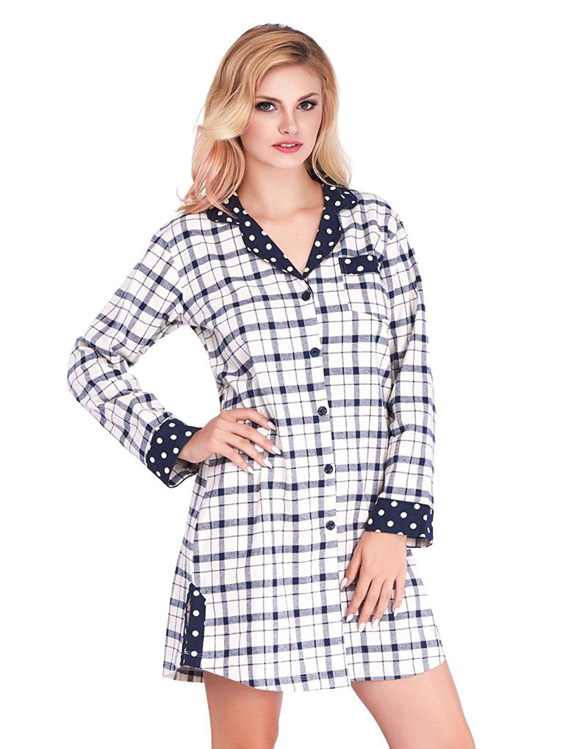 1cad0c0185 Get Quotations · Mio Lounge Joni Cream and Blue Check Polka Dot Soft Brushed  Cotton Nightshirt ML16C4NS