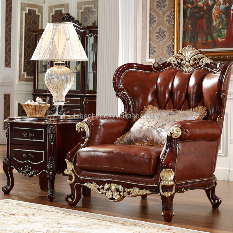 Luxury Clical French Italian European Antique Style Carved Rubber Solid Wood Frame Artistic Red Brown Leather