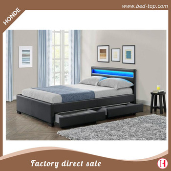 latest double bed design LED leather bed with storage wood box  sc 1 st  Alibaba & Latest Double Bed Design Led Leather Bed With Storage Wood Box - Buy ...
