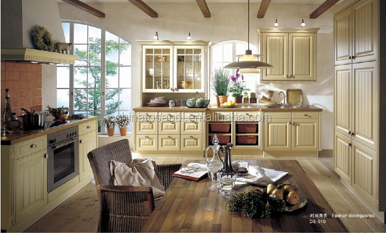 Unique Modern Solid Wood Kitchen Cabinet Design For Villa Projects Construction/Antique Kitchen Cabine