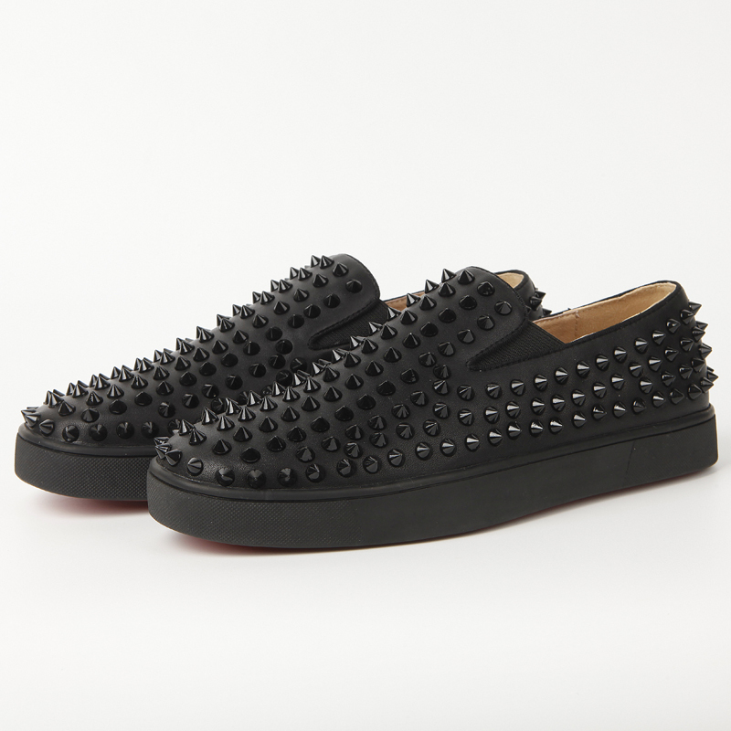 huge discount e8a9f a41d4 2015 brand new studs Red bottom roller boat men's flat low top spikes women  boat shoes black Genuine Leather Casual shoes