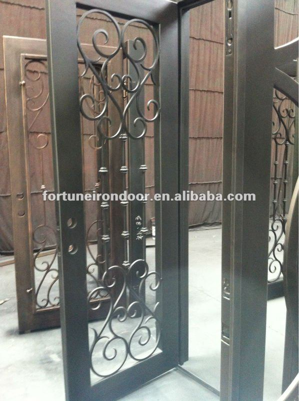 Safety Wrought Iron Entry Doors Glass Front Door With Many Nice