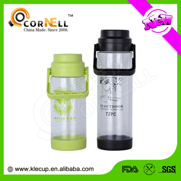 2017 Large volume customized plastic AS drinking water bottle with rope easy to carry out