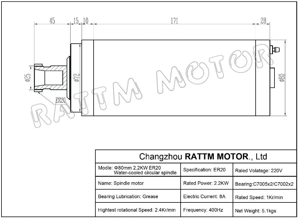 2 2kw Water Cooled Spindle Motor Er20  2 2kw Vfd 80mm