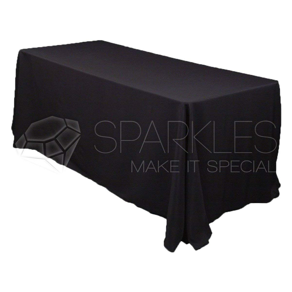 """Sparkles Make It Special 90"""" x 132"""" Inch Rectangular Polyester Cloth Fabric Linen Tablecloth - Wedding Reception Restaurant Banquet Party - Machine Washable - Black"""