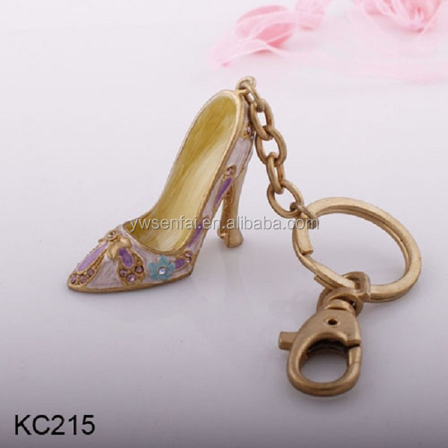 Fashion jewelry metal golden plated enamel rhinestone high-heeled shoes keychain
