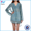 Yihao 2016 Fashion Blue Chiffon Womens Clothes Long Sleeve Blouses Loose Blouse