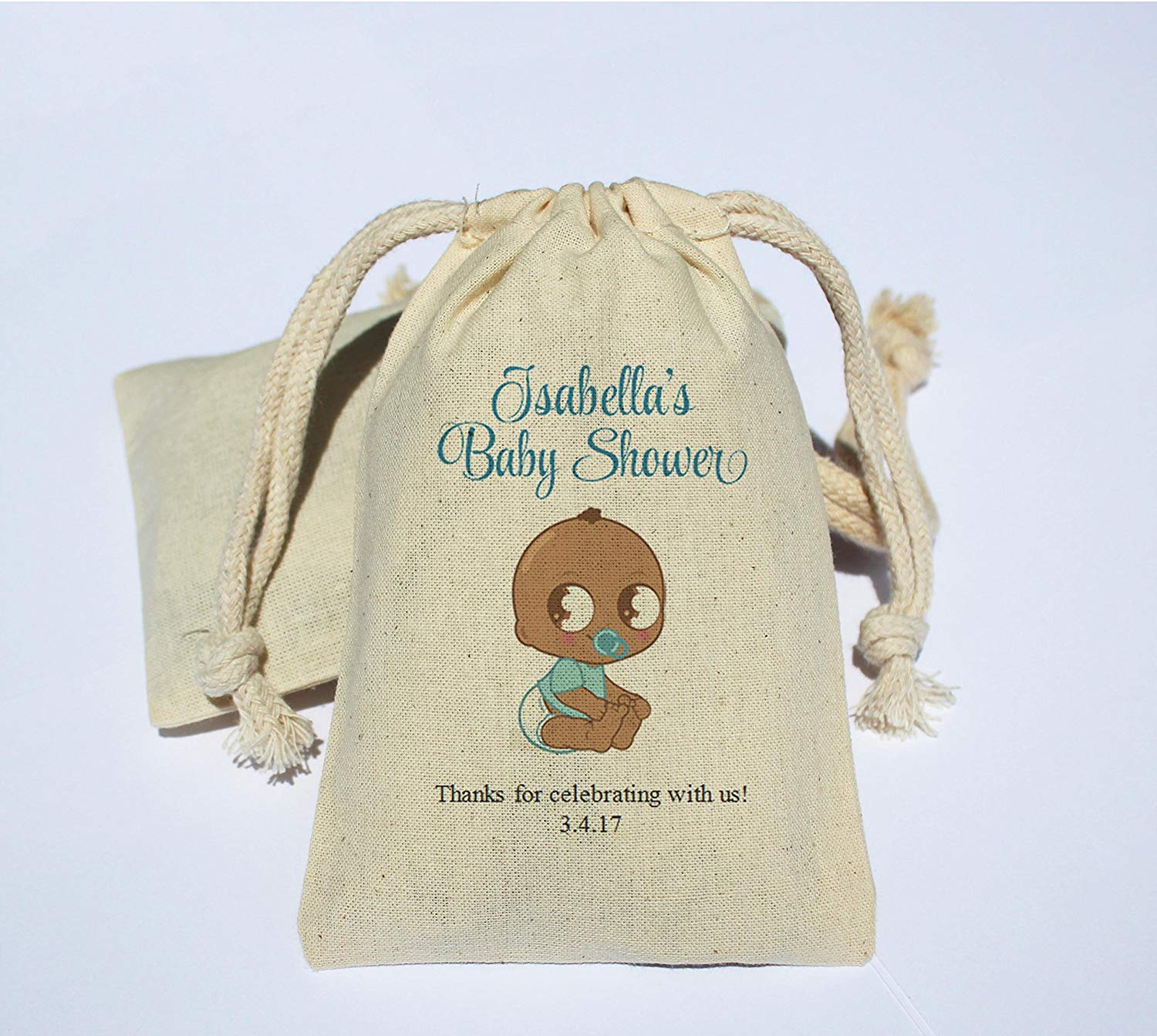 Personalized Cotton Muslin Baby Shower Party Favor Bag - Baby Shower Favor Bag - Baby Shower gift bag - Afro-American baby shower - African American baby shower
