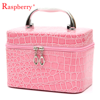 pink promotional cosmetic case yiwu skin care makeup gift box crocodile pattern box