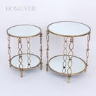 Vintage High Quality Round Iron Gold Console Coffee Table