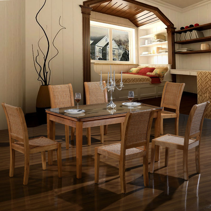 European-Style-cane-dining-room-furniture-wooden-dining