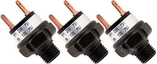 Vixen Horns 170-200 PSI Air Pressure Switch Tank Mount Type 1/4 NPT 12V/24V for Train/Air Horn - Bundle of three switches VXA7200-3