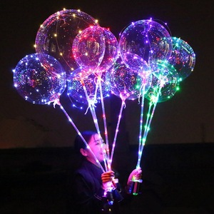 LED Light up Bobo Balloons, Pvc Clear Transparent Round Bubble Colorful Flash String Decorations Wedding Room