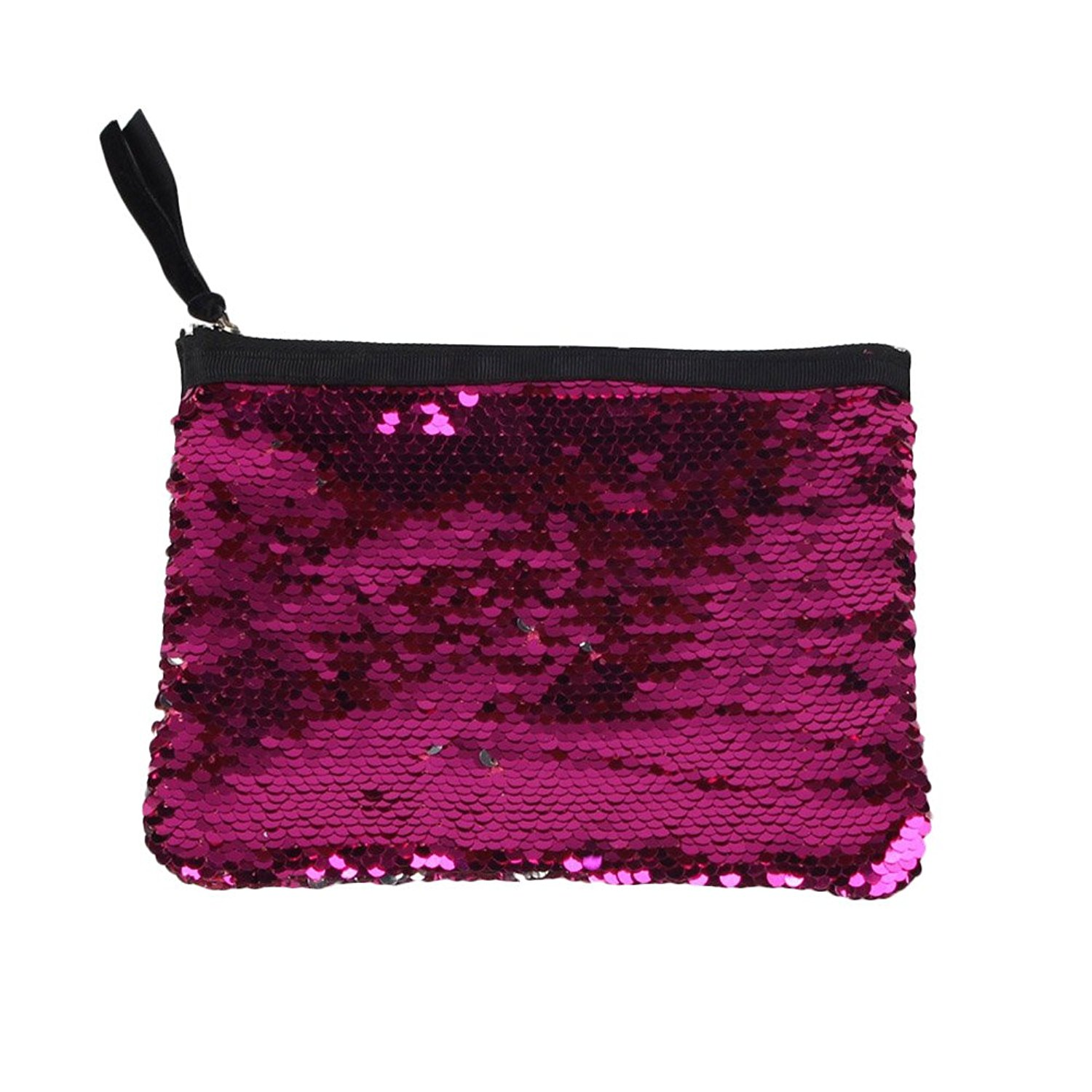 Tinksky Fashion Sparkly Sequin Clutch Bag Handbag Lady Party Evening Clutch Bag Purse Wallet Valentine's Day gift for Women (Rose Red)