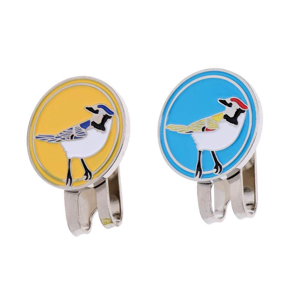 MagiDeal 2 Pieces Golf Ball Marker Bird Hat Clip Golf Gift