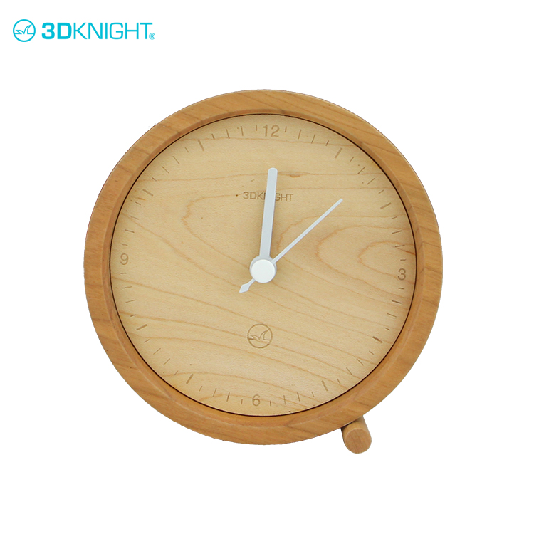 Round simple small wooden clock making modern wood clock