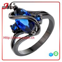 R7841BBU Fashion black gold blue sapphire cz and diamond amazon ring