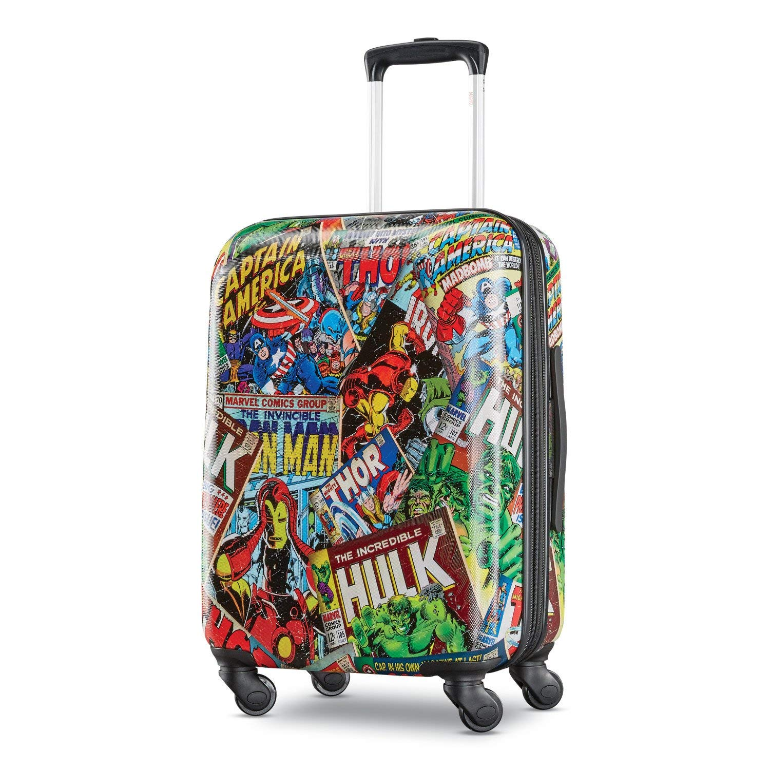 dff18bef6d Get Quotations · American Tourister Kids' Marvel Comics Hardside Spinner  21, Green/Red/Black