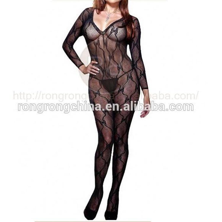 114417a88b Long Sleeve Bow Design Open Crotch Bodystocking Opaque - Buy Body ...