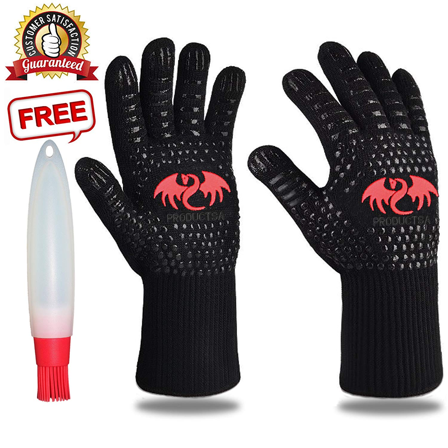 BBQ Grill Cooking Gloves 932°F Extreme High Heat Resistant Oven Baking Barbecue Grilling Gifts Gloves, Extra Large long cuff, EN407 Certified, Silicone Insulated Mitts, Bundle with Oil Bottle Brush