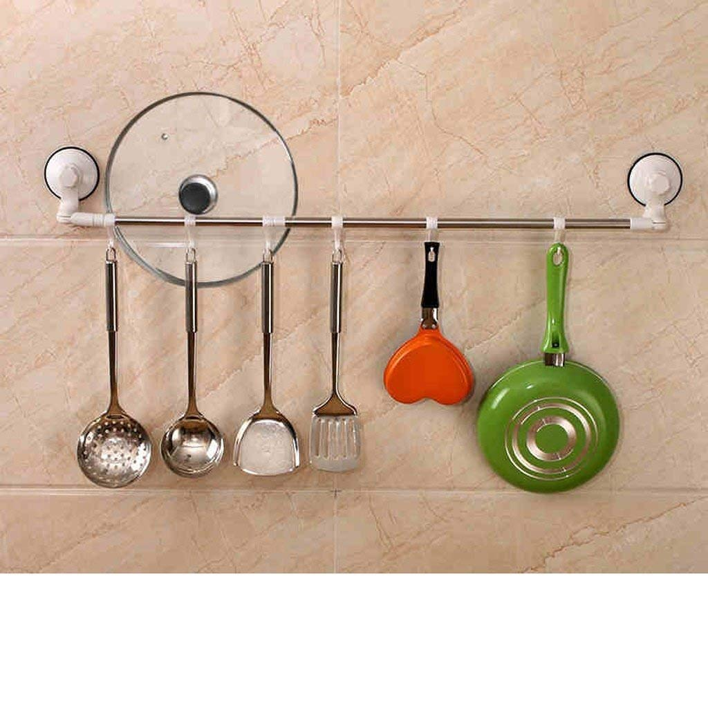 EQEQ Uus Bathroom Strong Sucker Towel Holder Non-Stamping Bathroom Towel Rack with Stainless Steel Hanging Rod Unilaterally Kitchen Hooks