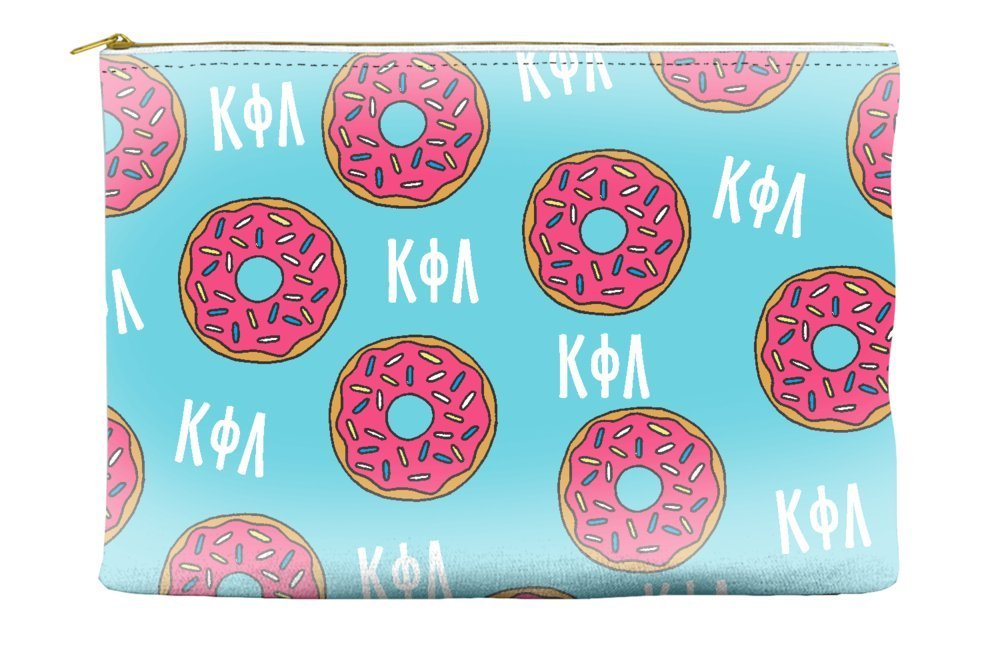 Kappa Phi Lambda Donut Pattern Blue Cosmetic Accessory Pouch Bag for Makeup Jewelry & other Essentials