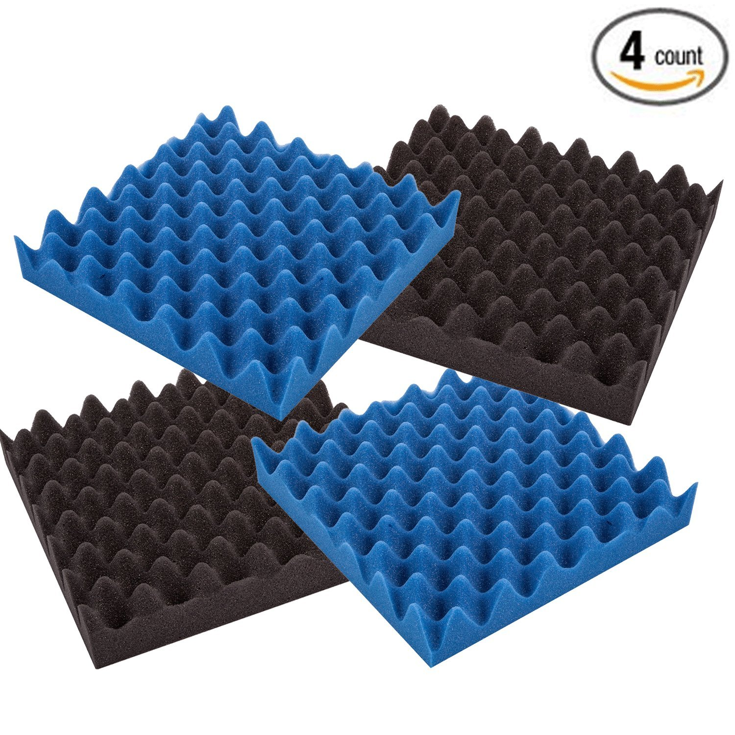 """4 Pack- Charcoal/Ice Blue Acoustic Panels Studio Foam Convoluted 2.5"""" X 12"""" X 12"""" Sound Tiles""""Egg Crate"""""""