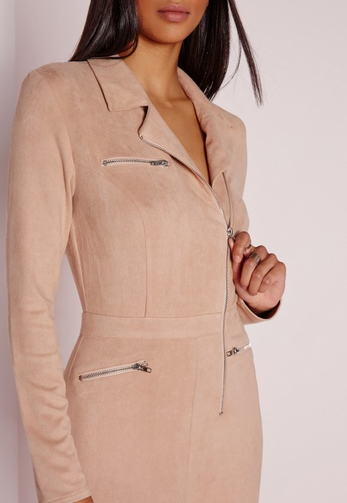 4f9c19590150 Bulk Formal Long Sleeve Nude Faux Suede Zip Front Jumpsuits - Buy ...