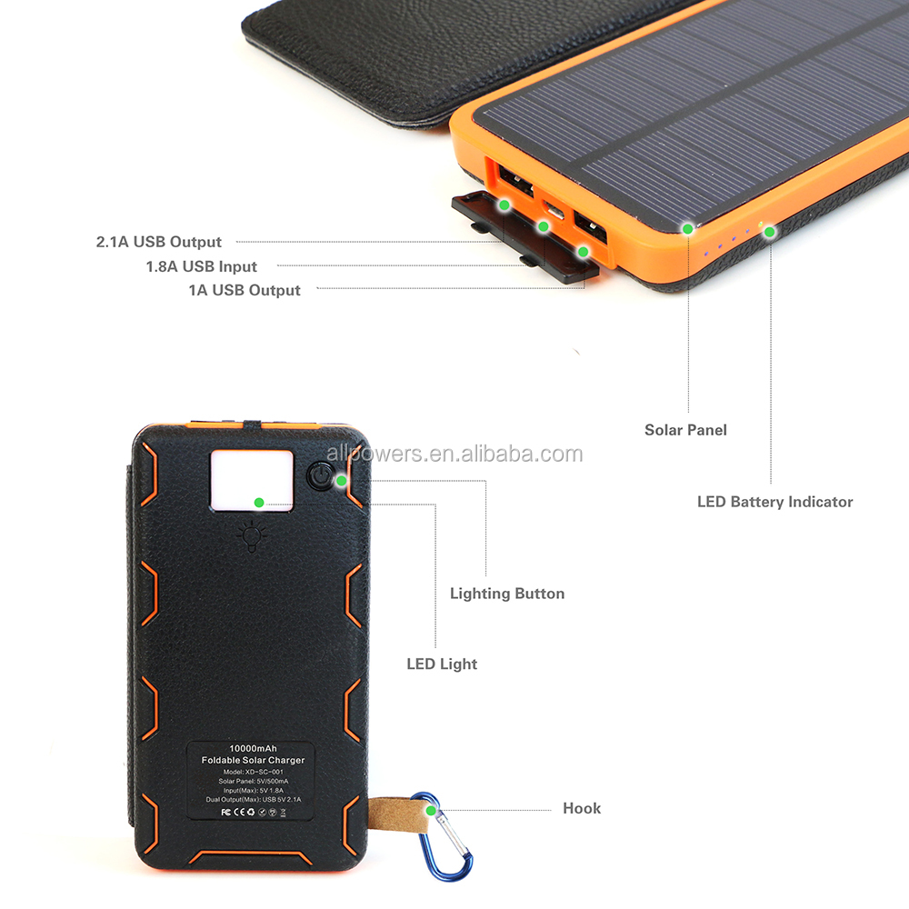 2017 High Quality 10000mAh Foldable Solar Power Bank