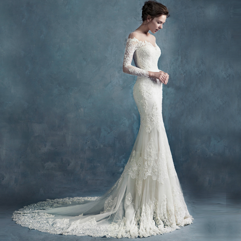 French Lace Mermaid Wedding Dress: Haute Couture, Sheer Corset Full Beaded French Lace Bride