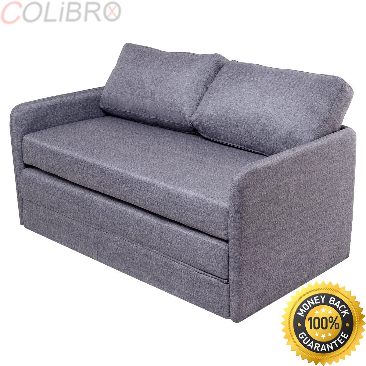 Get Quotations Colibrox Foldable Sleeper Sofa Bed Couch Loveseat Guest Lounge Living Room Furniture Gray