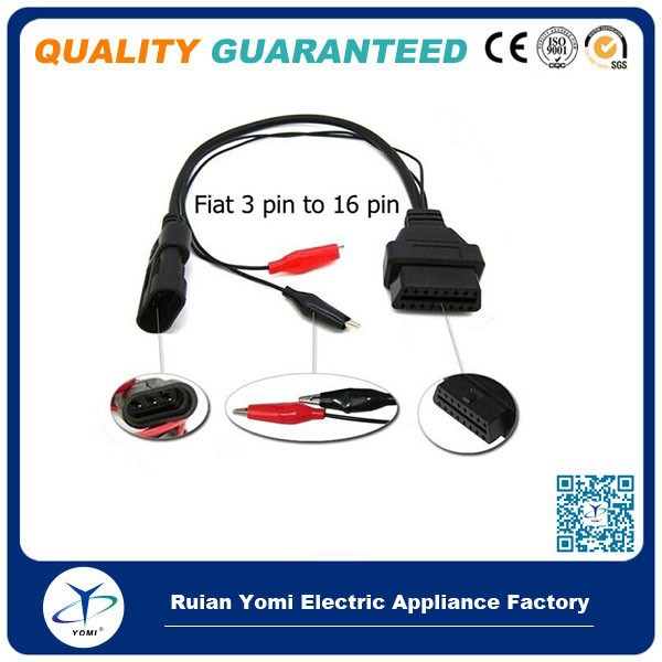 Fiat 3PIN ALFA Lancia OBD OBD2 FIAT 3PIN to 16PIN Car Diagnostic Tool Cable Fiat 3 PIN to OBD/OBD2 Car Scanner Tool Cable