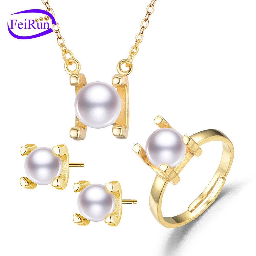 FEIRUN 7mm near round and 5mm round new silver pearl set, original pearl set, pearl set silver 925