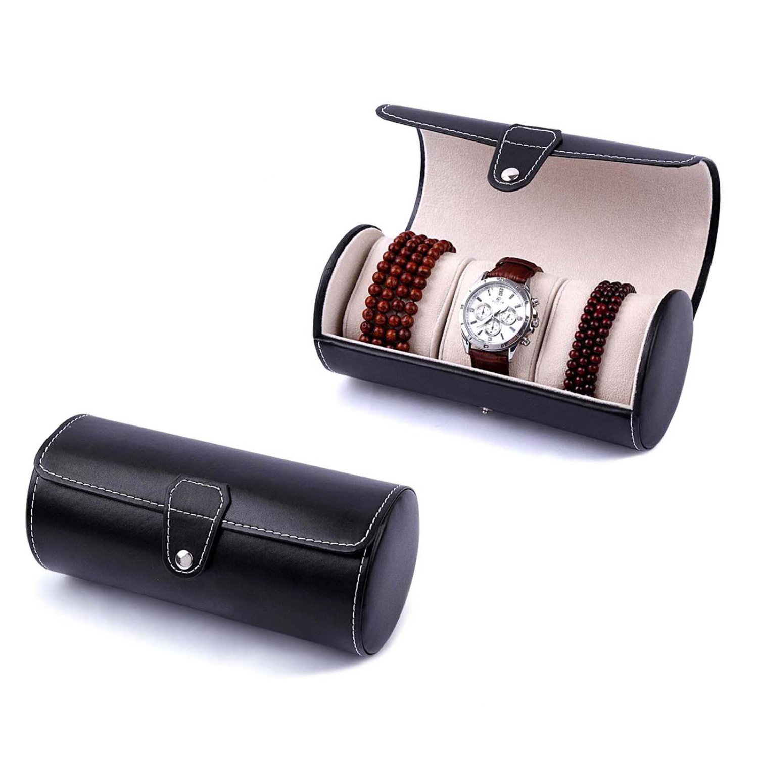 Custom high quality luxury portable modern/vintage multiple personalised designer best mens large brown/black leather watch box