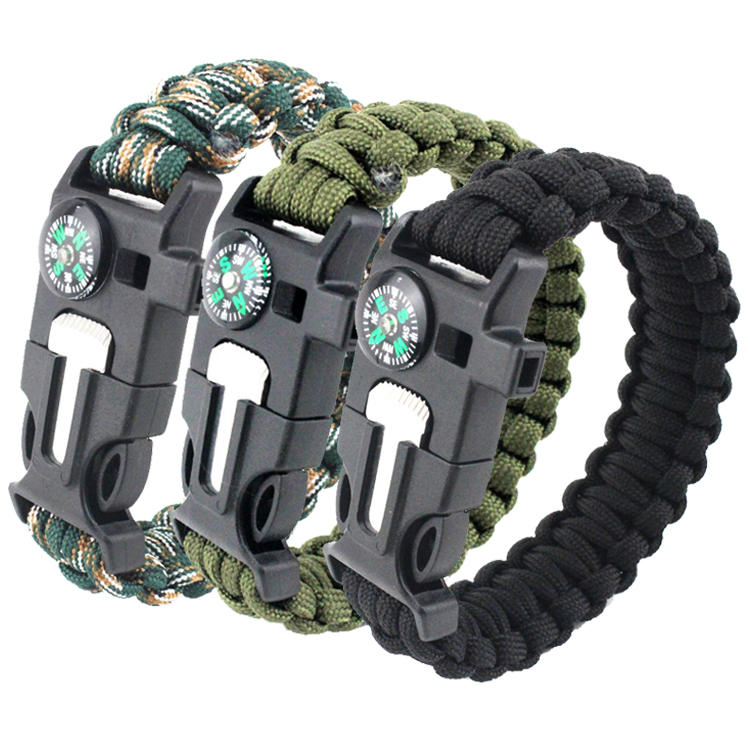Fabrikant groothandel 550 paracord survival armband met logo