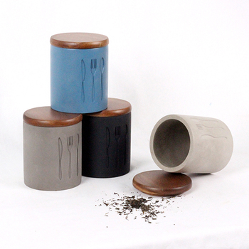 Square Concrete Tea Sugar And Coffee Canisters China