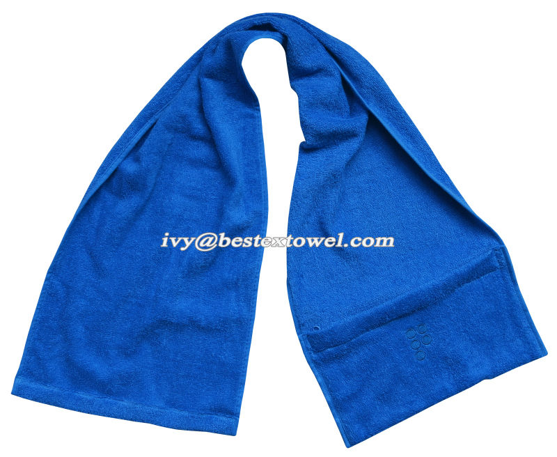 Wholesaler OEM custom logo 100%cotton gym sport towel with zipper