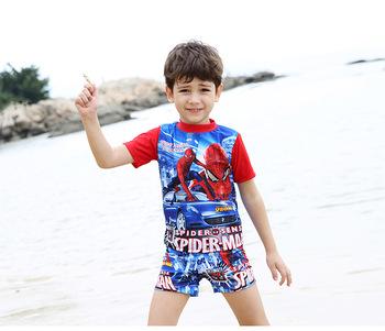 7a3fe643e5 Beach Boys One-Piece Swimwear For Children With Cartoon Character + Cap  Boys Swimwear Kids