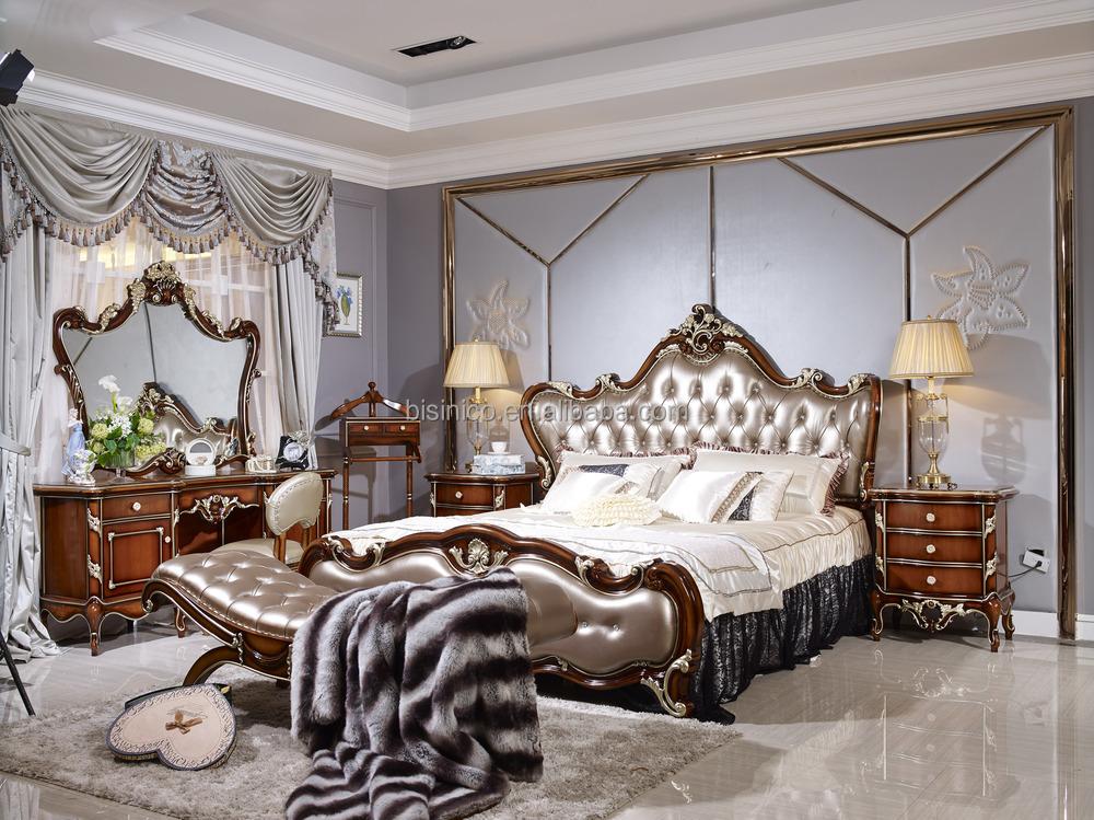 Italian Style Solid Wood Bedroom Furniture Set, Antique Wooden Bed Room Set
