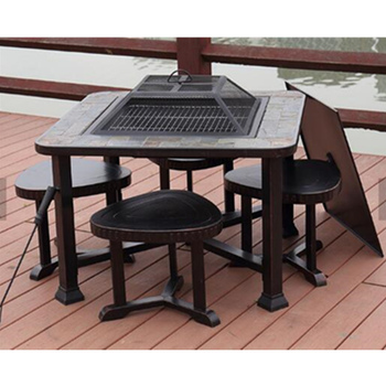 Metal Outdoor Fire Pit Set With Chimney Steel Grill Table