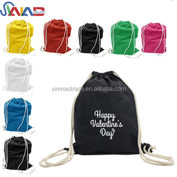 Eco-Friendly Custom Cotton Canvas Blank Drawstring Backpack Bag Printing