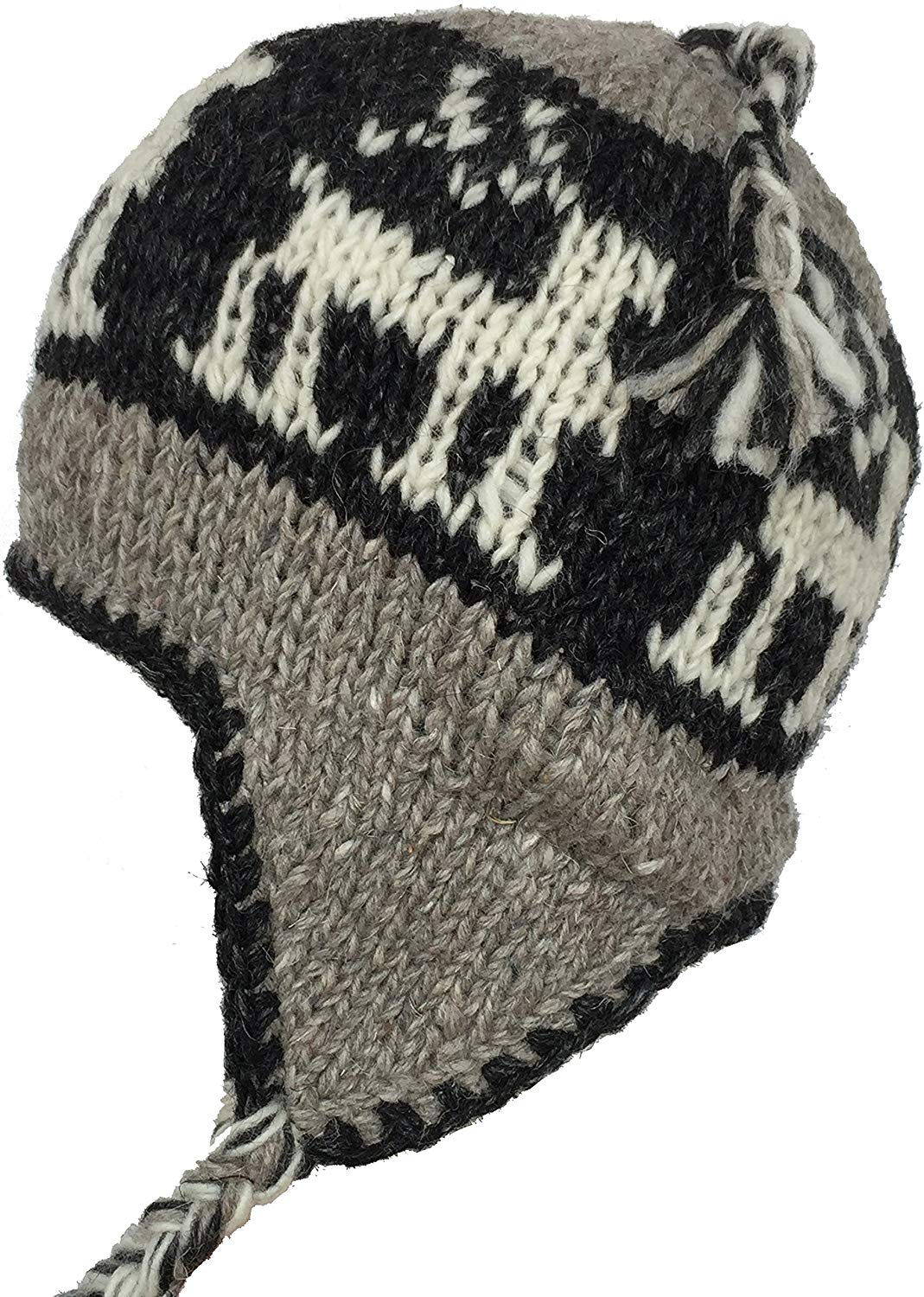 0c25ef553c0 Get Quotations · Wool Winter Chullo Beanie Fleece Lined Toque Cap Ear Flaps  Sherpa Peruvian