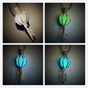 New Piercing Night Light luminous stone Key Pendant Necklace Lovers Long Chain Necklaces & Pendants Gifts