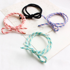 Promotion fashion multi colored bulk no crease handmade bow accessories holders womens girl wholesale elastic hair ties