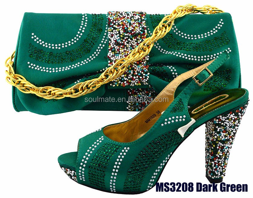 for 2017 wedding shoes bags and ladies italian matching Strap green fxqRPf